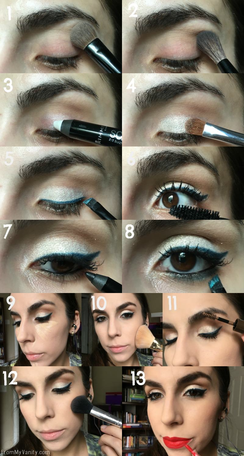 Step by step tutorial for a 4th of July makeup look feautring Rimmel!