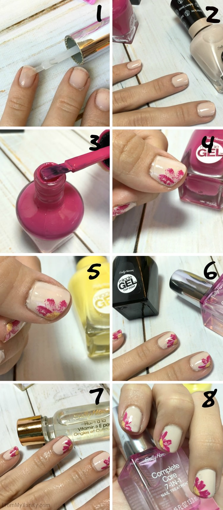 Step-by-Step Tutorial for Dry Brush Flower Nail Art