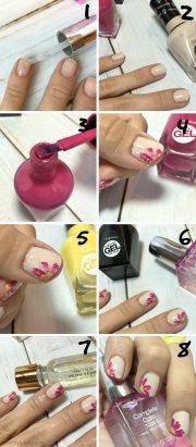 dry brush flower nail art tutorial