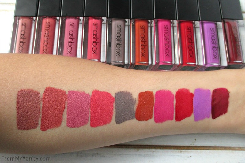 Swatches of the new Always On Liquid Lipsticks from Smashbox!