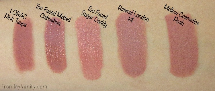 Swatches of the Top 5 Nude Lipsticks in my Collection