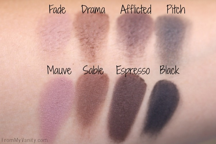 Last four matte shadows in the LORAC PRO palette and the Makeup Revolution Iconic Pro 1 palette