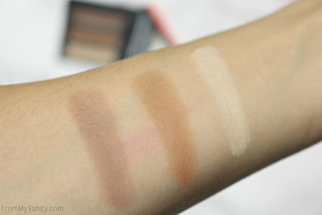 Arm swatches from Smashbox Contour | Light It Up: 3 Mini Palettes