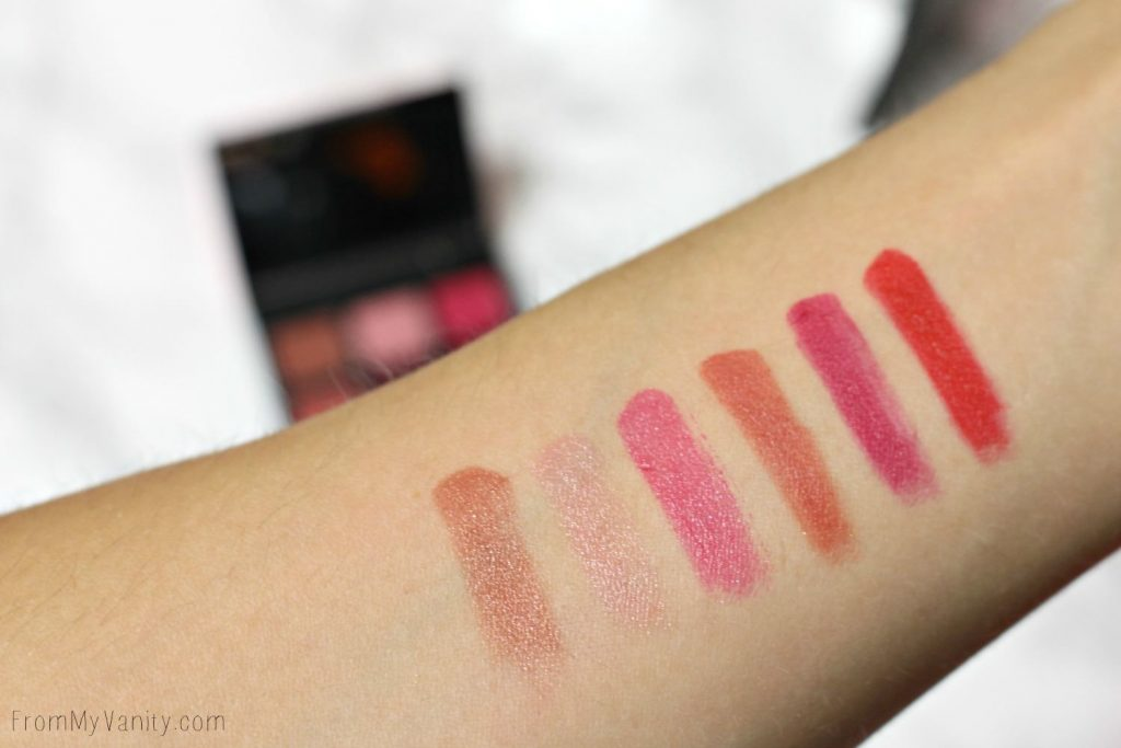Arm swatches of the Smashbox Lips Light It Up: 3 Mini Palettes