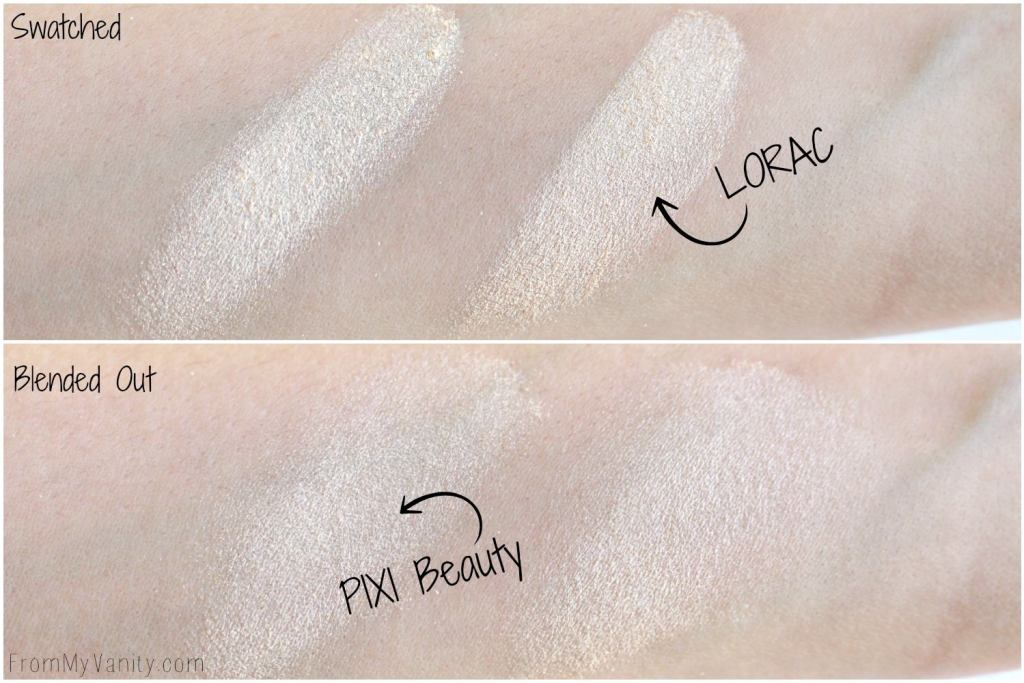 Dupe or Dud   LORAC Light Source Highlighter vs Pixi Beauty Glow-Y Powder   Comparison Swatches