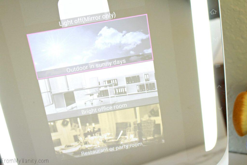 The HiMirror PLUS has built in vanity lights!