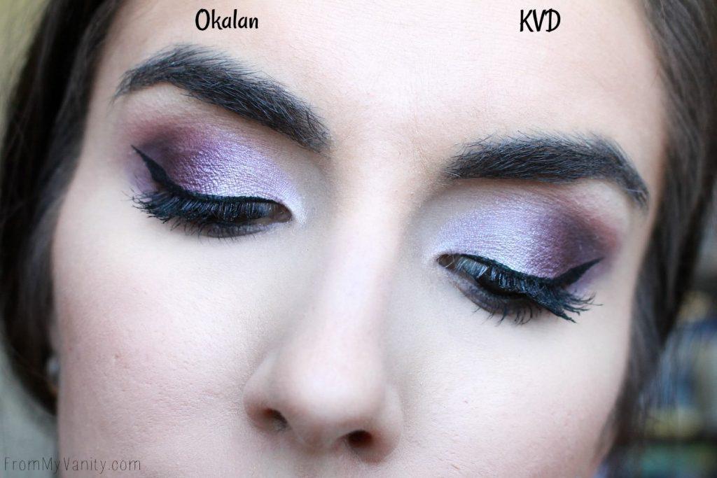 Dupe or Dud | KVD MetalMatte vs Okalan MatteMetal | Eye Look Comparison! | Purple Eye Look
