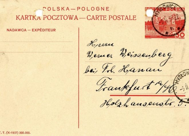 9th November 1939, postcard address