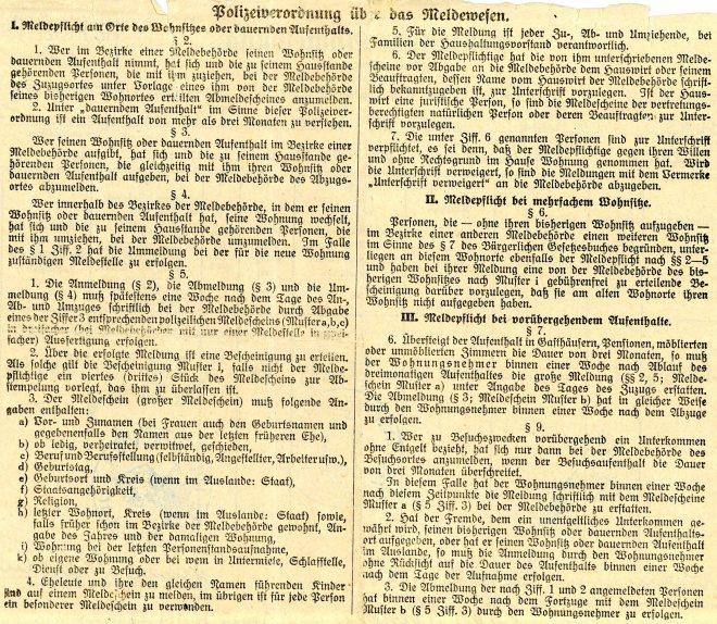 16th April 1932 Breslau Police registration form, reverse