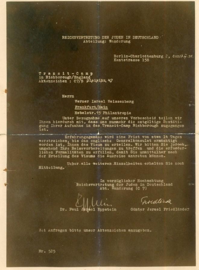 Letter: Reichsvertretung der Juden in Deutschland