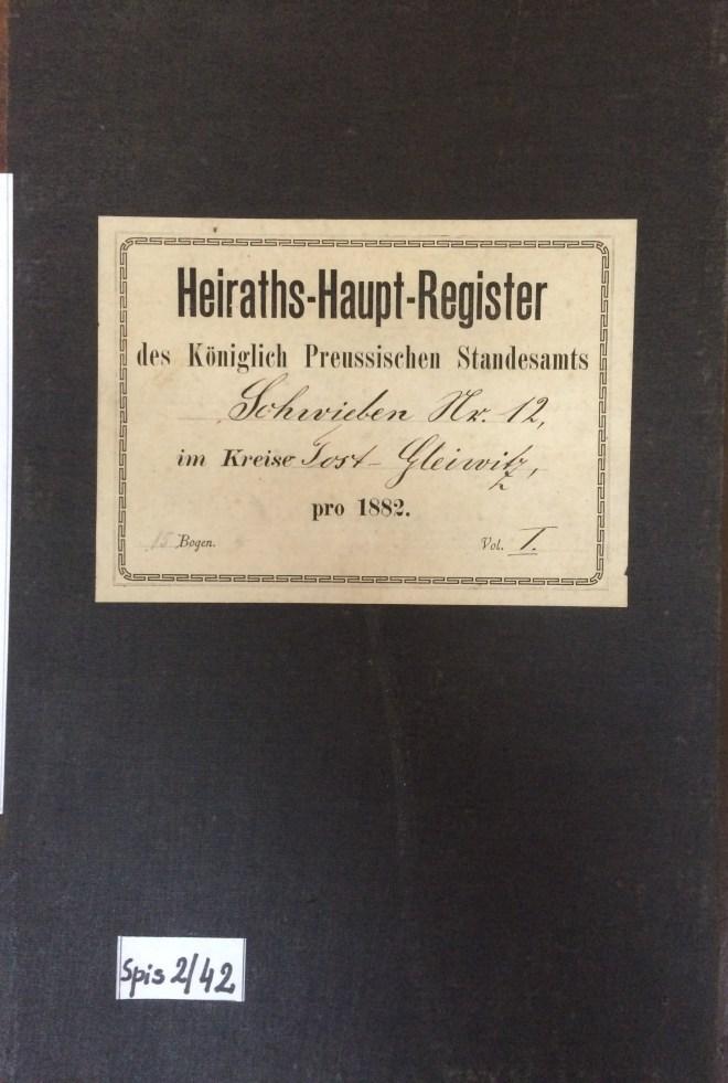 Schwieben register of marriages, 1882