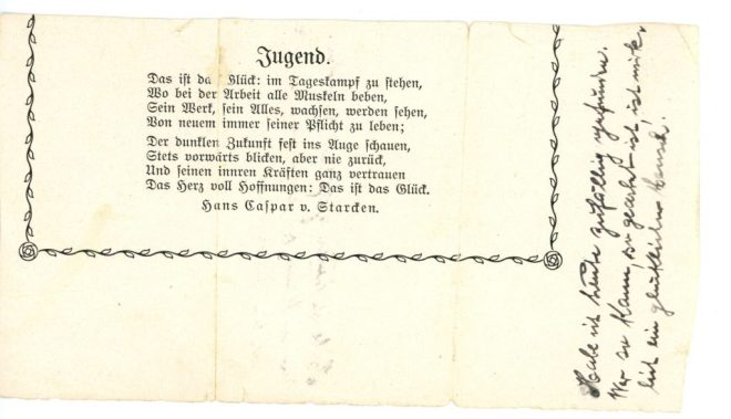 Jugend - poem and note