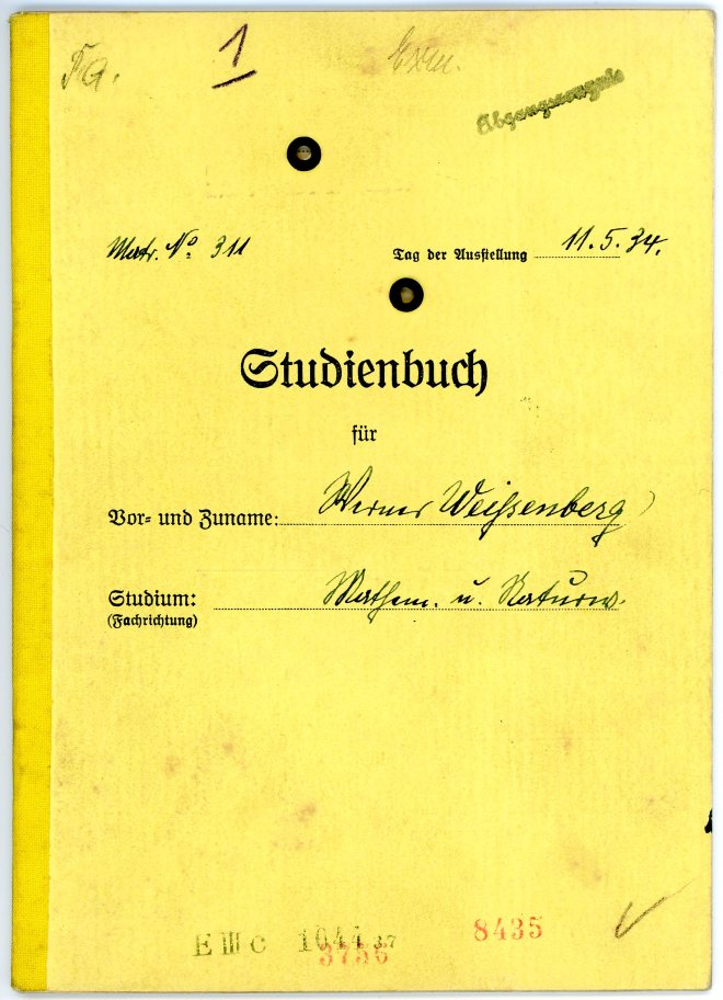 Studienbuch, University of Breslau, cover, 11 May 1934