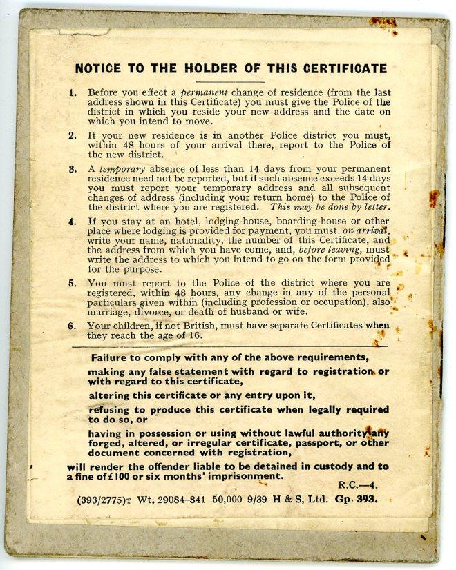 Aliens Order, 1920 _ Certificate of Registration, back cover