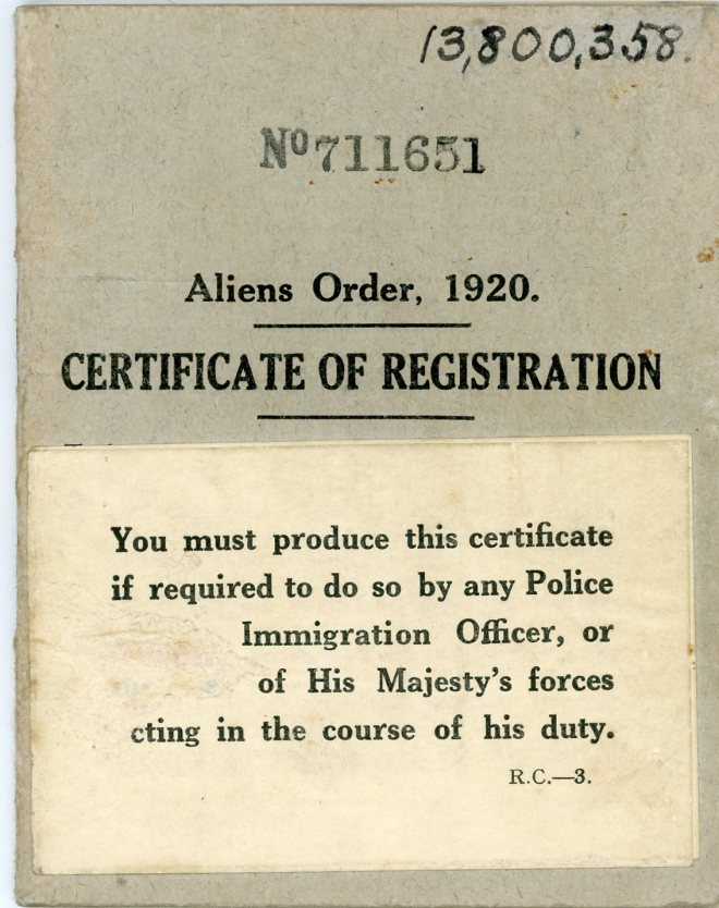 Aliens Order, 1920 _ Certificate of Registration, front cover