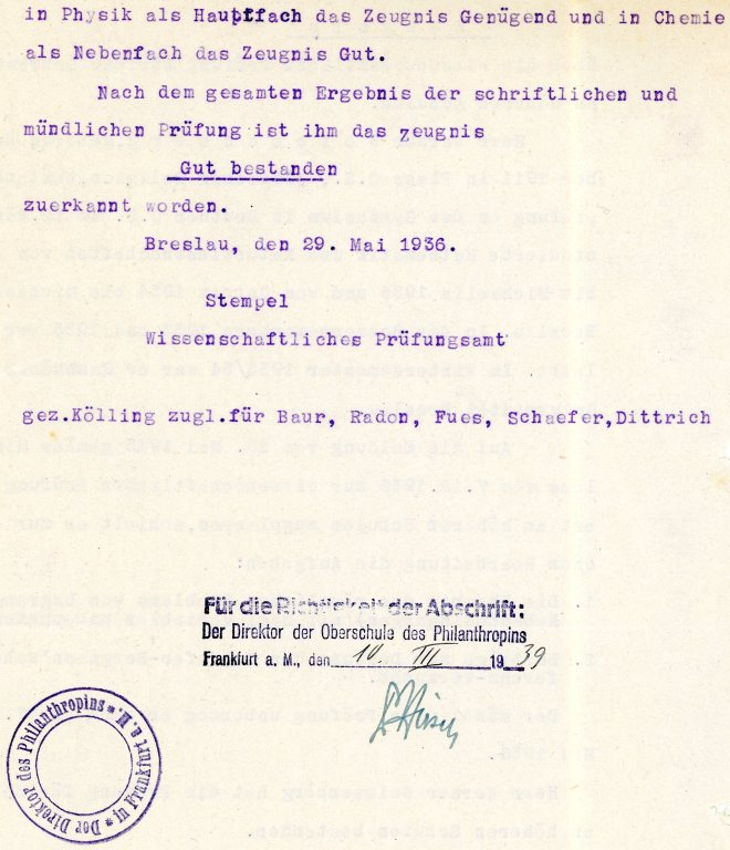 Stamped: 10th March 1939, page two; certificate dated 29th May 1936