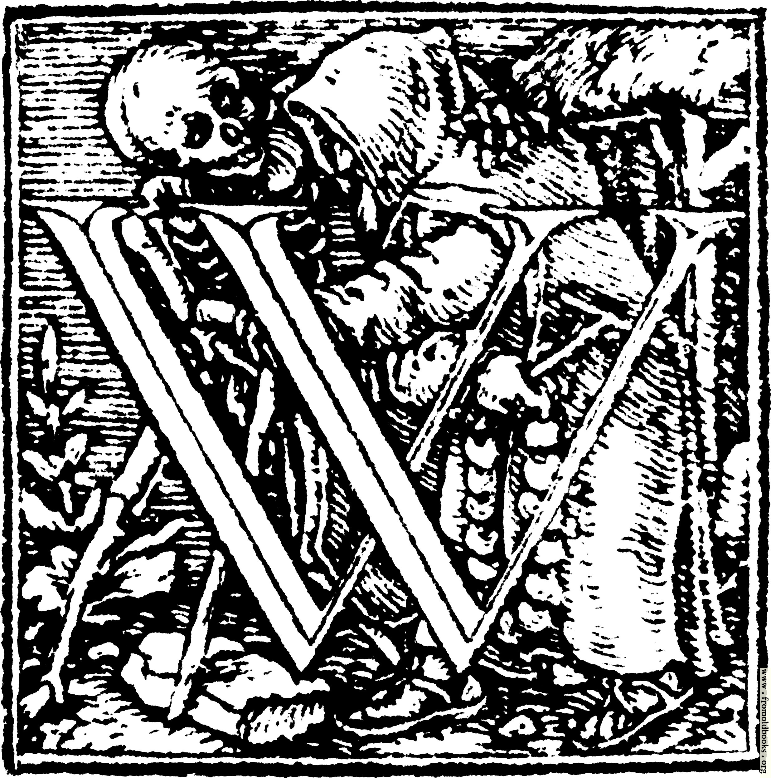62wInitial Capital Letter W From Dance Of Death Alphabet