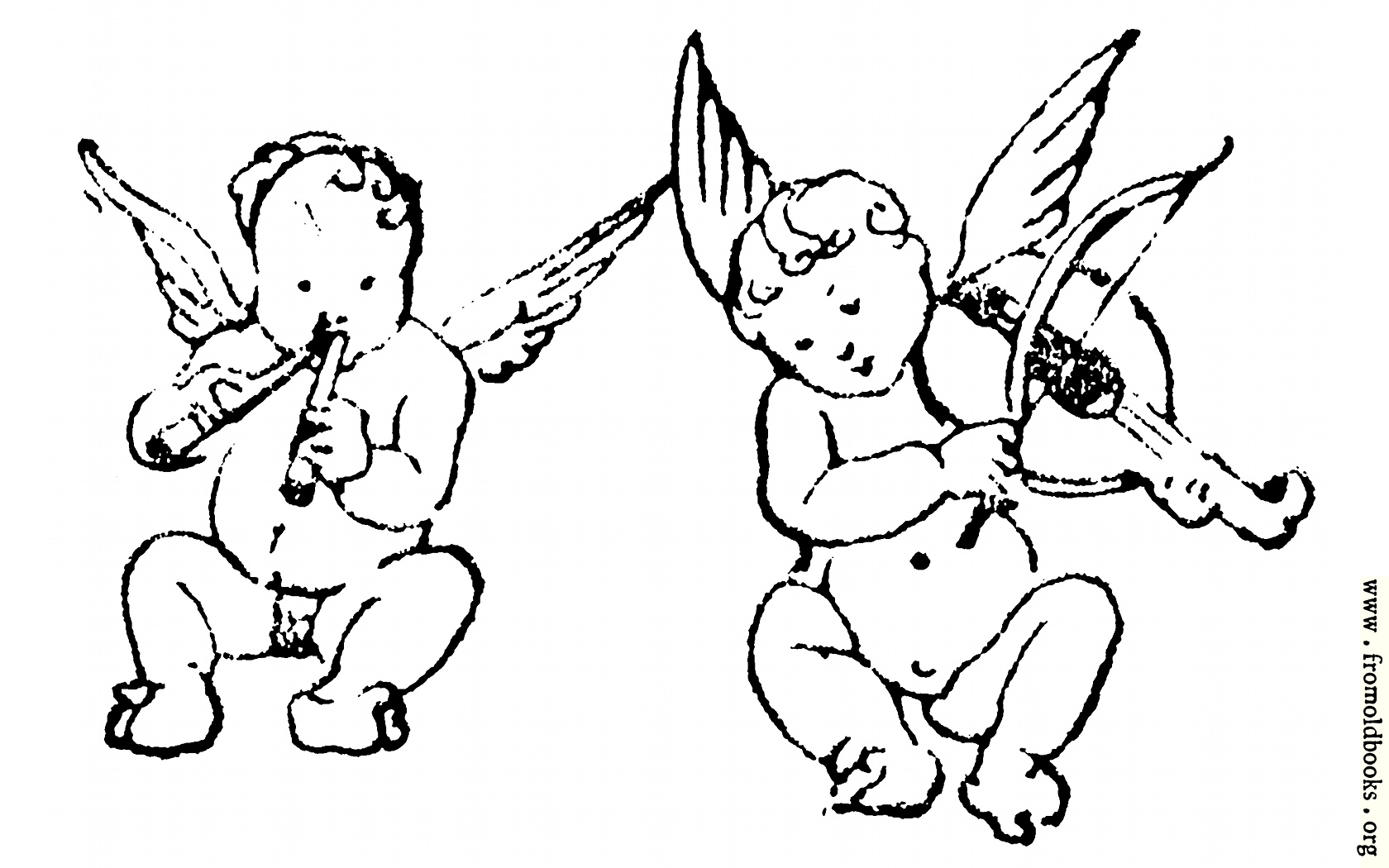 Two cherubs play flute and violin [image 319x200 pixels 90]