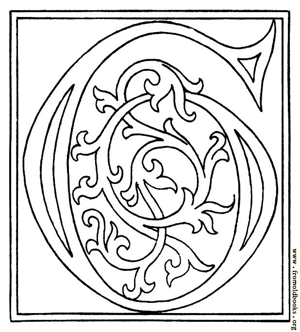 clipart: initial letter G from late 15th century printed book