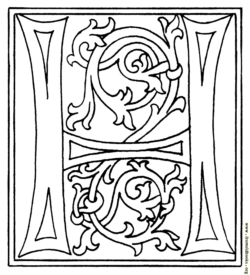 clipart: initial letter H from late 15th century printed book