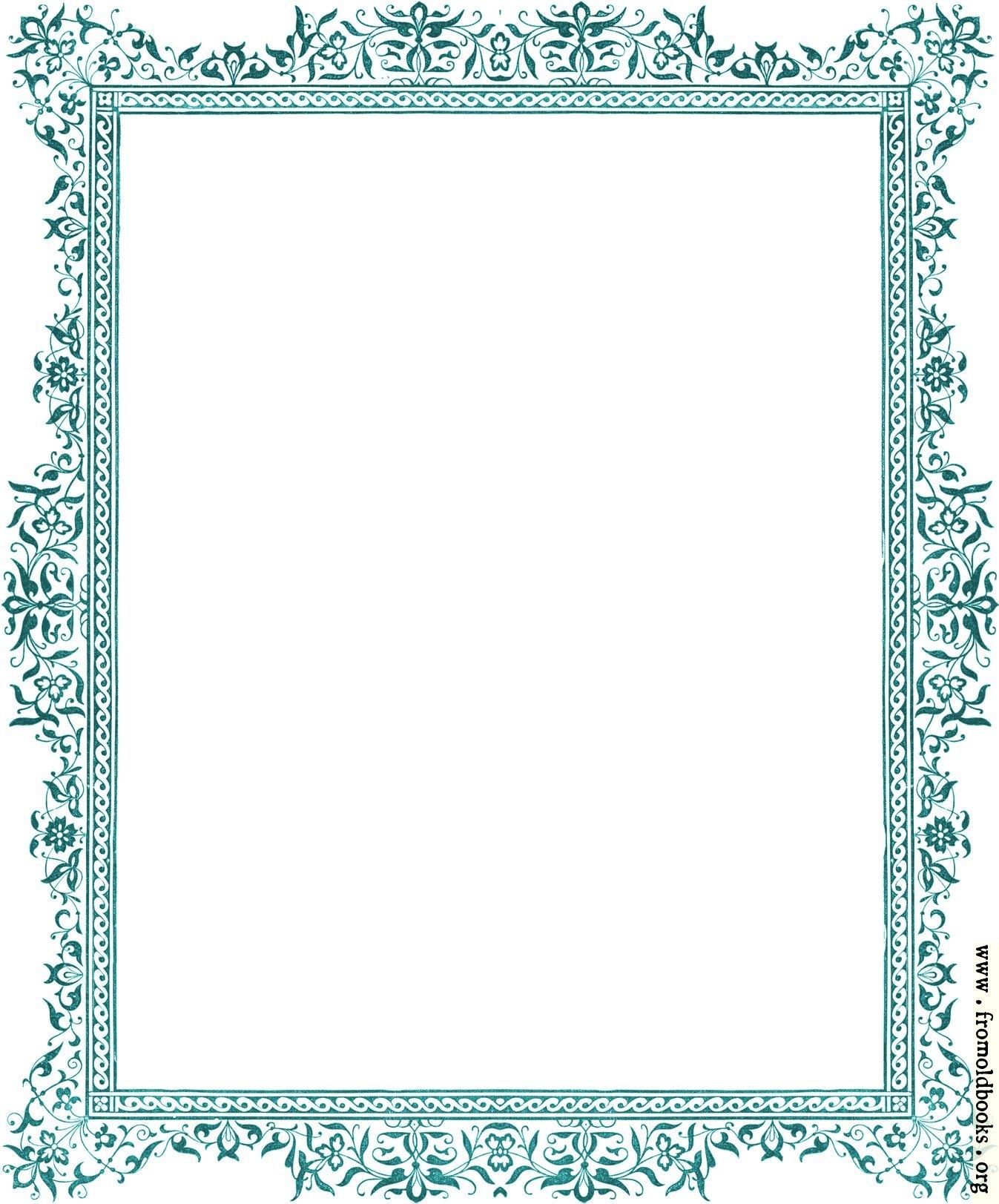 Decorative clipart Victorian border antique green image 1347x1623 pixels