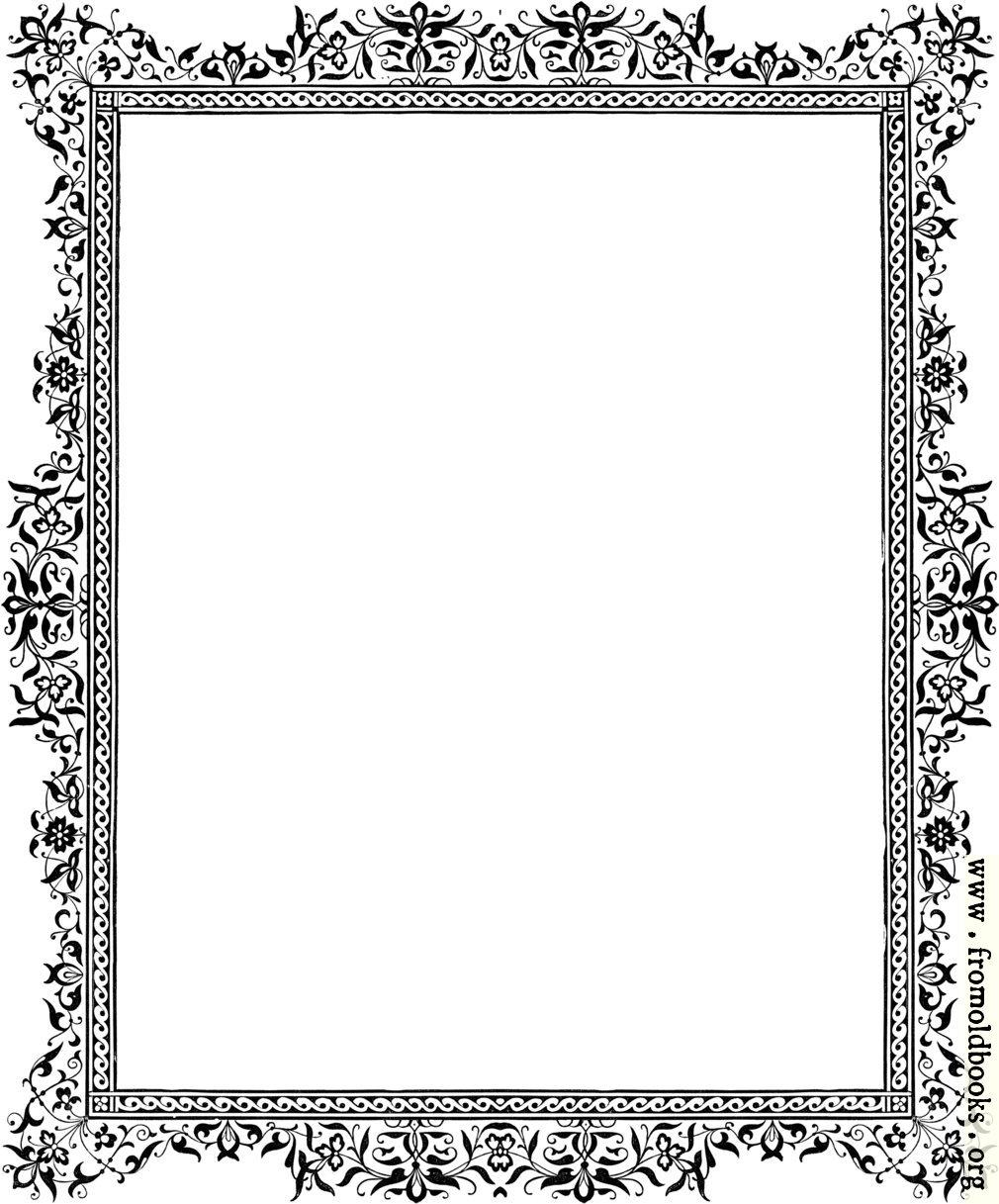 Decorative clipart Victorian border Black and White image 1010x1217 pixels