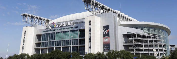 A bright blue sky covers NRG Stadium prior to an NFL football game, Sunday, Sept. 28, 2014, in Houston. (AP Photo/Patric Schneider)