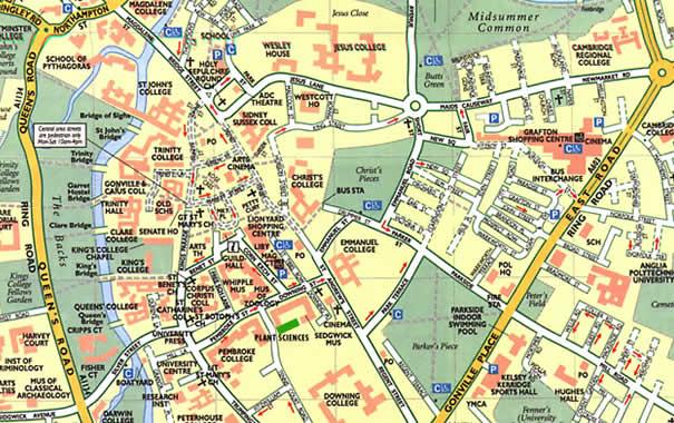 Mapa de la ciudad de Cambrige