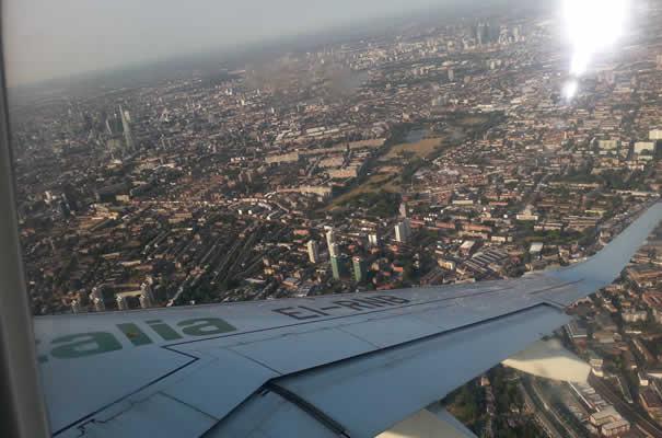Vistas aterrizaje en London City Airport - East London