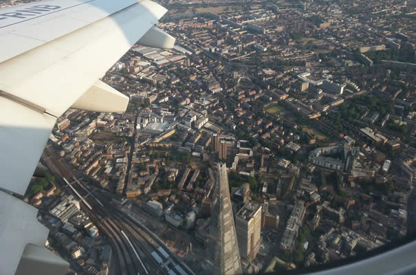 Vistas aterrizaje en London City Airport - The Shard
