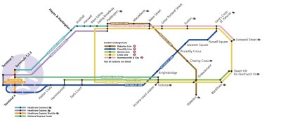 London Heathrow Train Map - Courtsey of HeathrowAirport.com