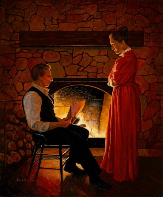 An Anthony Sweat painting of Joseph and Emma Smith.