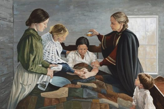 An Anthony Sweat painting of women in the 1800s giving a priesthood blessing with consecrated oil.