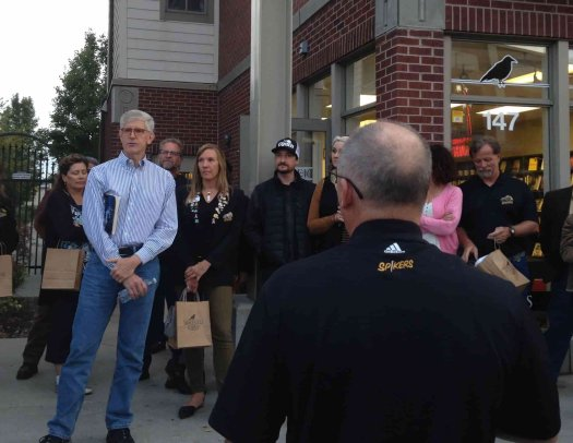 Val Holley talking to a group as he gives a walking tour of Ogden's Historic 25th Street.