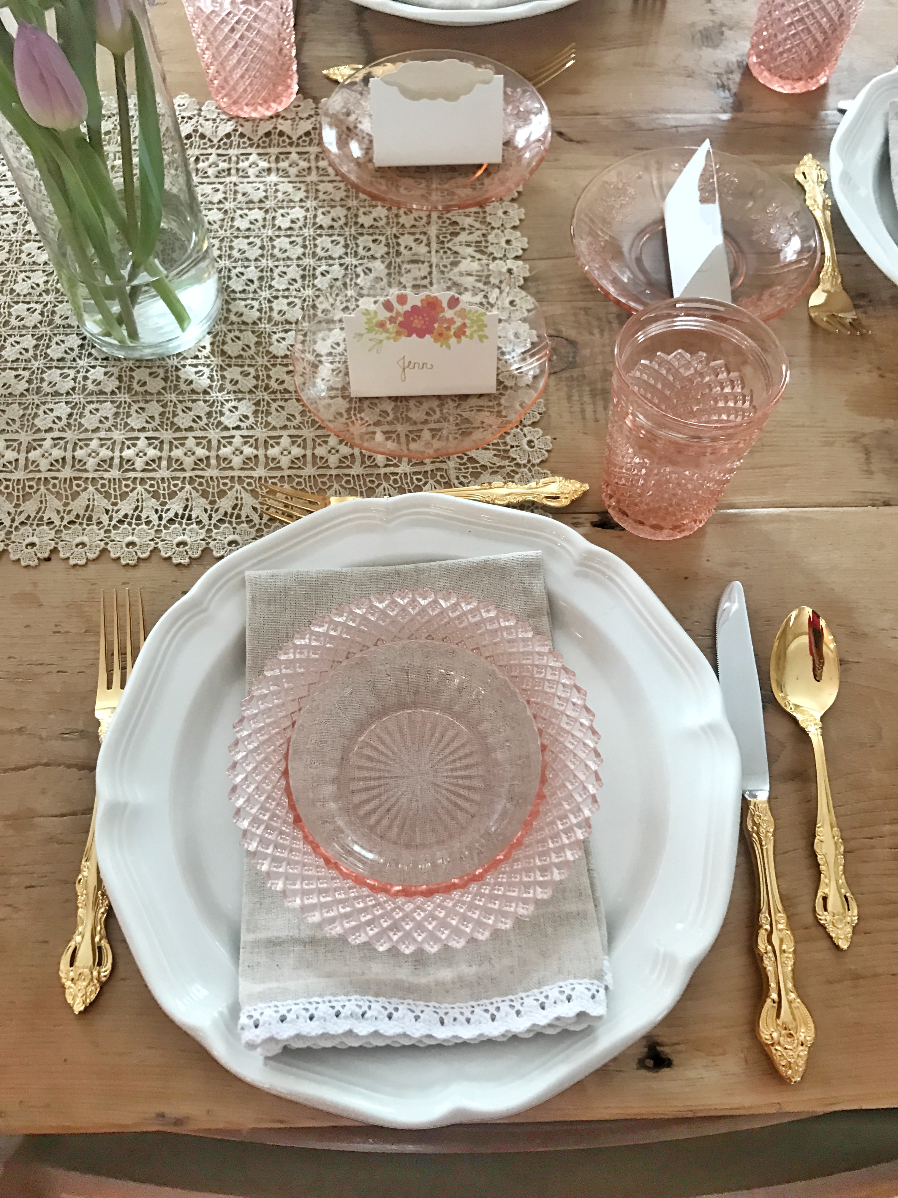 Spring Brunch Tablescape Pink Depression Glass And Tulips