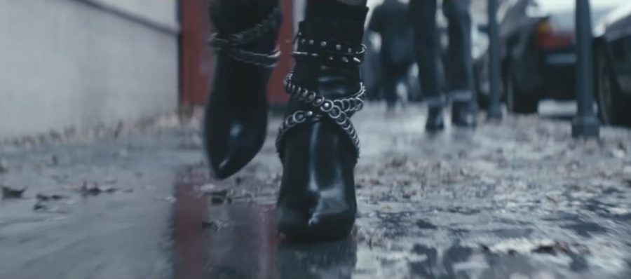 Black strap ankle boots Charlize Theron in Atomic Blonde (2017)