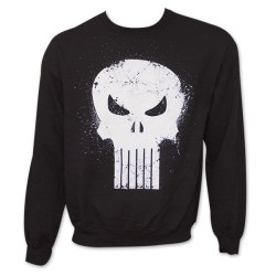 Marvel Comics The Punisher Logo Skull Black Crew Sweatshirt