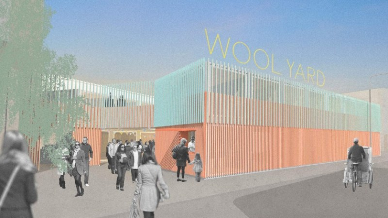 """Plans for new """"Wool Yard"""" market in Woolwich opposite Lidl"""