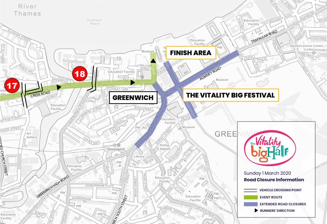 Greenwich street closures planned with Big Half marathon tomorrow