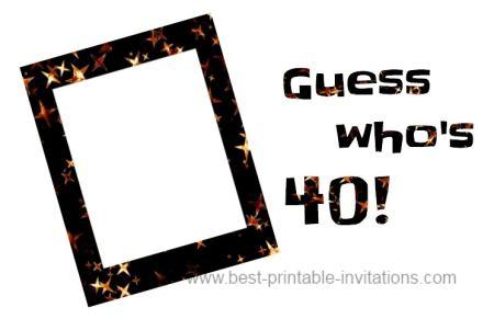 40th birthday invitation ideas