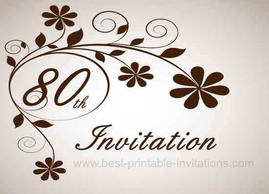 80th Birthday Party Invitation Cards Wedding Invitation Sample – Free 80th Birthday Invitation Templates