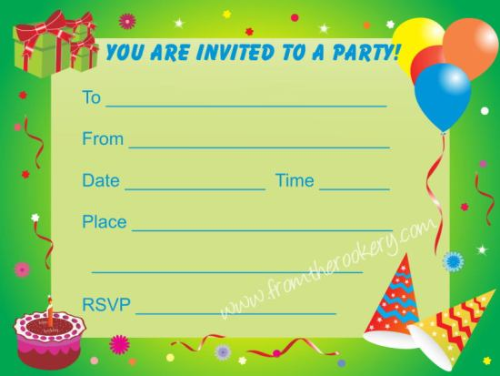 Birthday Party Invitations For Kids Printable Invite Cards