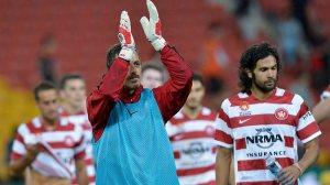 Jerrad Tyson applauds travelling fans.