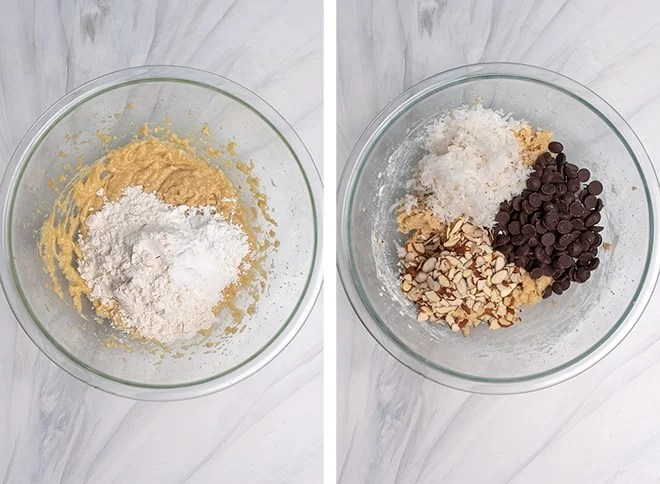 Two images showing the dry ingredients and the chocolate chips, shredded coconut, and sliced almonds added to the dough.