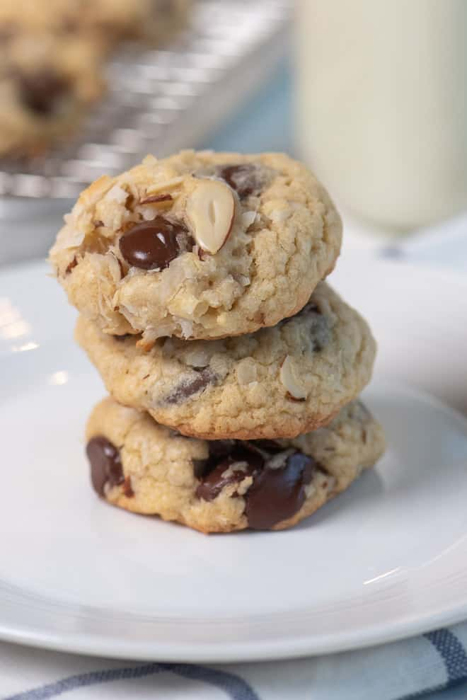 Almond Joy Cookies stacked on a small white plate