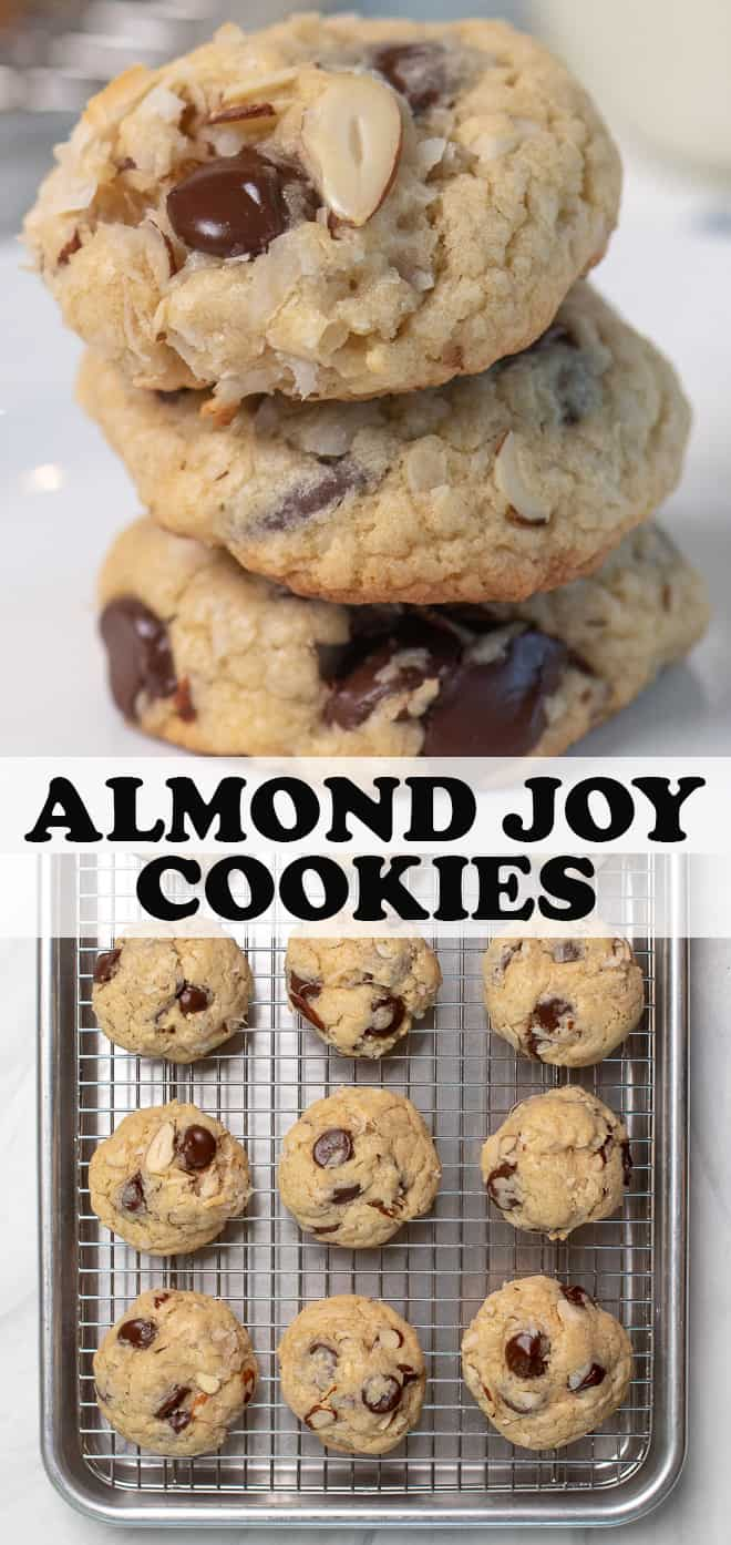 A vertical two image collage of Almond Joy Cookies with overlay text.