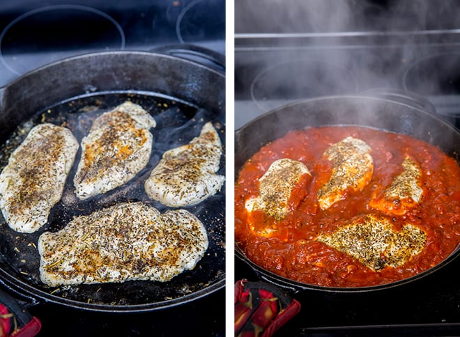 Two images showing the process of seasoning and cooking the chicken in a skillet.