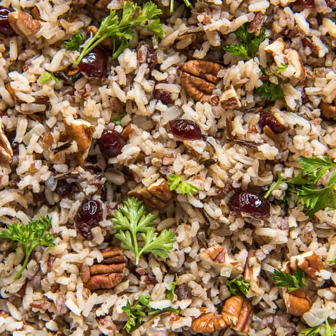A close up of Wild Rice Pilaf with Cranberries and Pecans