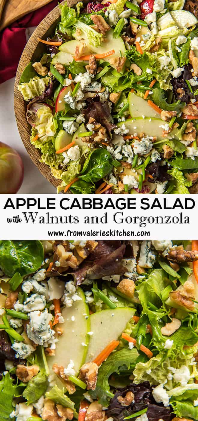 A two image vertical collage of Apple Cabbage Salad with Walnuts and Gorgonzola with overlay text.