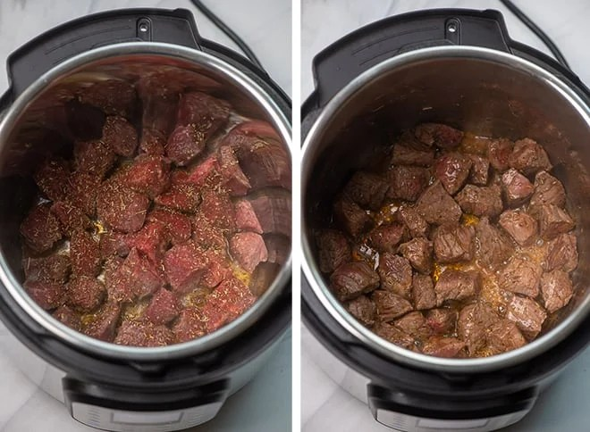 Two in process images showing the cubes of beef stew meat browning with some of the spice mix in the Instant Pot.